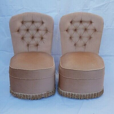 Original Pair Of Hollywood Regency Button Back Bedroom Chairs