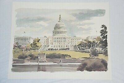 """16"""" x 20"""" Watercolor Art Print: United States Capital Building by Paul N. Norton"""
