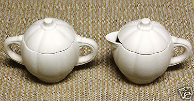 Ceramic Bisque Pumpkin Sugar and Creamer Duncan Mold 394 U-Paint Ready To Paint