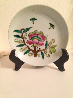 100 yr old Chinese porcelain hand painted plate;lotus