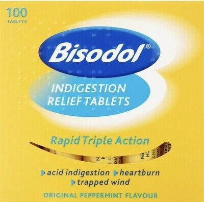 Bisodol Indigestion Relief Rapid Triple Action 100 Tablets - Free Postage