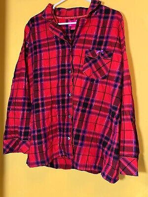 Victorias Secret Sleep Wear Shimmery Button Down Flannel Top Large