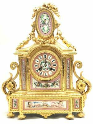 Beautiful French S.Marti C1880 Gilt Mantle Clock With Pink Sevres Porcelain