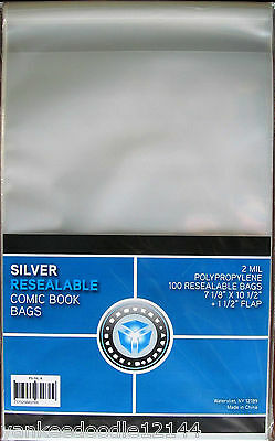 1000 New CSP SILVER AGE RESEALABLE Comic Book Archival Poly Bags- 7 1/8 X 10 1/2