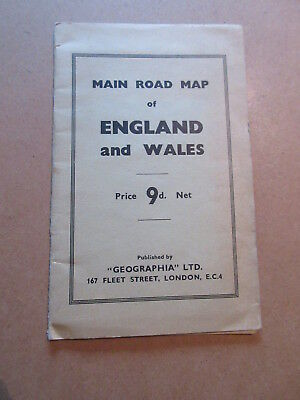VINTAGE Main Road Map of ENGLAND and WALES - published Geographia