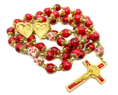Saint Benedict Rosary Necklace Red Beads St San Benito Cross & Heart Medal