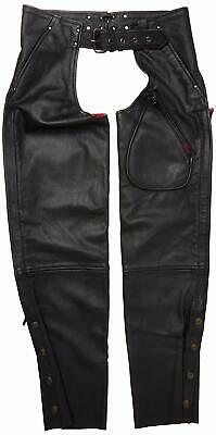 Milwaukee MMCC Women's Unisex Gunslinger Motorcycle Chaps X-Small Black Snaps C6