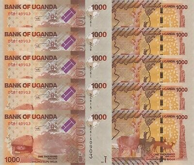 LOT, Uganda 1000 Shillings (2017) p49-New x 5 PCS UNC