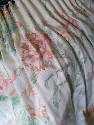 "Floral spring curtains unlined 3"" heading tape, ex m&s"