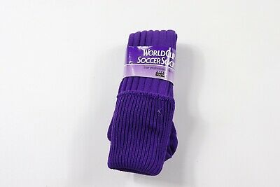 Vintage 80s New World Cup Youth 7-10 Nylon Tall Soccer Socks Solid Purple USA