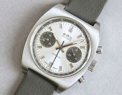 BWC SWISS CHRONOGRAPH PANDA DIAL VALJOUX 7733 STEEL 1970s VINTAGE WATCH NR MINT