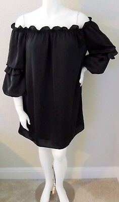 ea0668758b4 Very J Ruffle Sleeve Off Shoulder Matte Satin Tunic Dress Black Plus 1X 2X  3X
