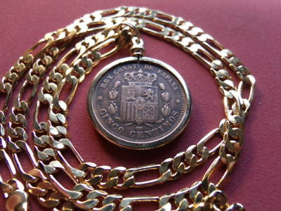 """XF 1879 Spanish Bronze Centimos Coin Pendant w 22"""" 18k Gold Filled Link Chain"""