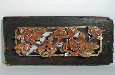 Antique Chinese Wall Plaque - Hand Carved Wood - Bird and Flowers