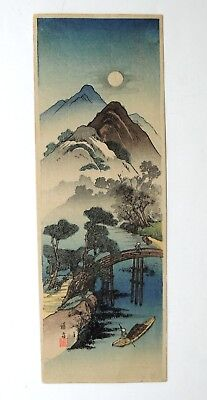 Japanese Woodblock by Keisai Eisen - Full Moon Over Mountain Scenery