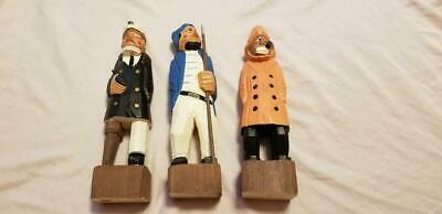 Vtg Hand Carved Wooden Sailor Sea Captain Fisherman Sailor Nautical - Set Of 3