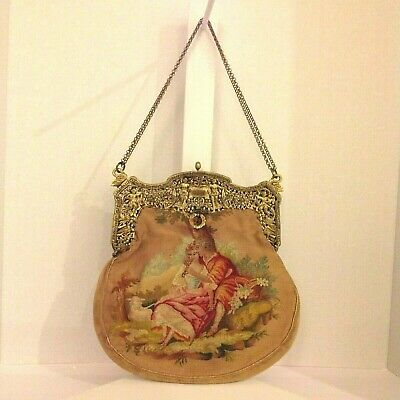 Antique Vintage French Aubusson Tapestry Handbag