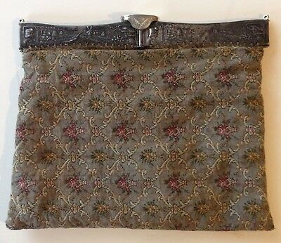 Vintage Victorian Floral Tapestry Evening Bag W/Hinged Scenic Metal Top Frame
