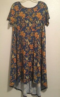 5dc1a41c13b0e LuLaRoe Carly Blue Multicolor Floral Print Hi-Lo Dress Very Soft Size S