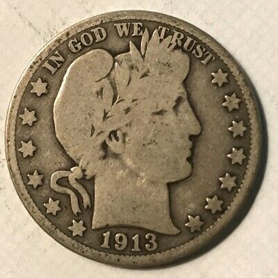 1913-D Barber Half Dollar Vg Low Mintage