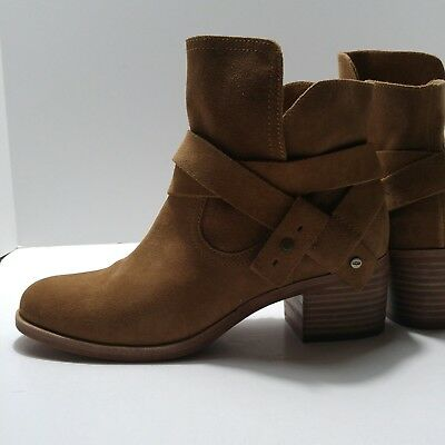 982f6313d80 UGG AUSTRALIA LEATHER Ankle Boots Booties Size 7 Elora 1020295 Chestnut NEW