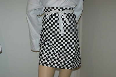 6 x Hospitality Chefs waiter Black / White Checkered Half Aprons
