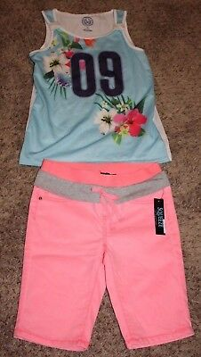 Tank Top And Shorts Outfit Girls Size 12 Pink Blue Neon