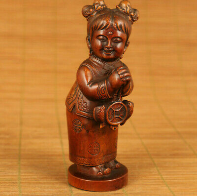 Chinese old antique boxwood lucky bring money figure statue netsuke home deco