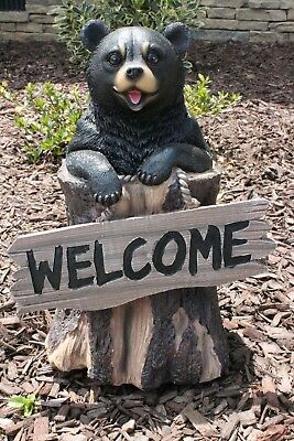 Black Bear Statue Black Bear in Tree Trunk Welcome Sign Statue Sculpture New