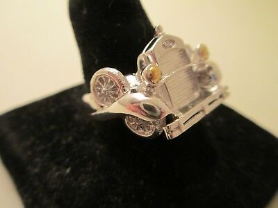 Sterling Silver Model A Ford Ring With 22k Light Lenses, Size 8.5