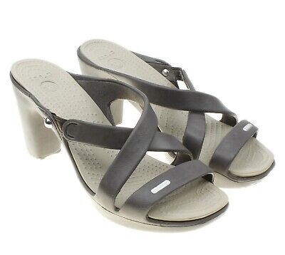 22bc65625886 CROCS Cyprus Womens Brown Open Toe Strappy Sandals Slip Ons Heels Size 8W