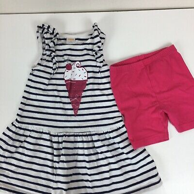 NWT Gymboree Girls Pink Popsicle Knit Shorts Romper Outfit Ice Cream Size 4