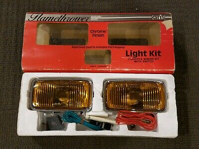 Vintage Aris Flamethrower Quartz Ray Chrome Fog Lights Amber Lense NEW