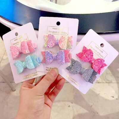 2Pcs/Set Mini Little Girls Hair Bows Clips Double Layer Glitter Kids Hairpins