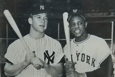 """Vintage 8""""x10"""" Framed Photograph of Baseball Players Mickey Mantle & Willy Mays"""