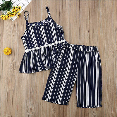 2Pcs Infant Toddler Clothes Baby Girl T-Shirt Tant Top+Pants Striped Outfit Sets