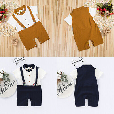 Newborn Gentleman Baby Boy Outfits Clothes Romper Tops Jumpsuit One-Pieces Set