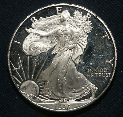 """1996-P $1 Silver Proof American Eagle 1 Oz Coin """"impaired""""  Lot 241006A"""