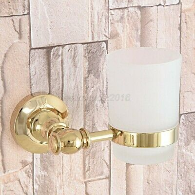 Gold Color Brass Wall Mount Toothbrush Holder with Glass Single Cup lba309