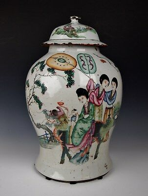 "LARGE 16"" ANTIQUE CHINESE JAR & COVER Qing Dynasty 1800 Famille Rose Porcelain"