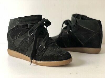 3b9c9d8ad5 ISABEL MARANT BOBBY Suede Wedge Sneakers, Black. Size 35 - $225.00 ...