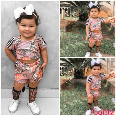 Lovely Infant Kid Baby Girl Floral Striped Tops+Shorts Outfits Tracksuit Clothes