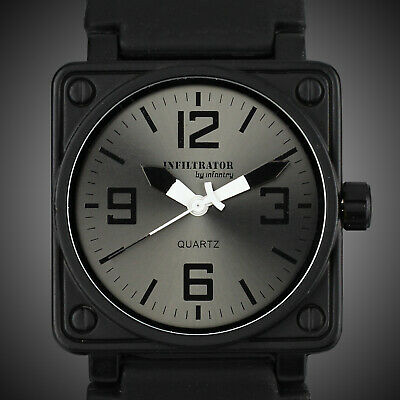 Infantry Infiltrator Men's Analog Wrist Watch Square Sport Military Black Rubber