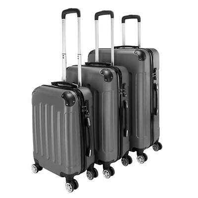 "3Pcs Luggage Set PC+ABS Trolley Spinner 20""24""28"" Suitcase Hard Shell Dark Gray"