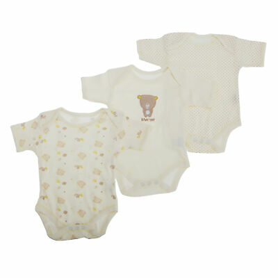 Baby Boys/Girls Unisex Bear Pattern Short Sleeve Bodysuit (Pack Of 3) (BABY527)