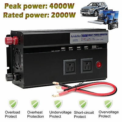 2000W-4000Watt Max DC 12V - AC 110V Power Inverter Converter 4USB for Electronic