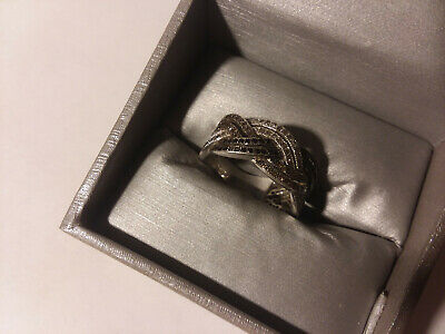 Zales 1 CT TW Black, Champagne and White Diamond Sterling Silver Woven Band