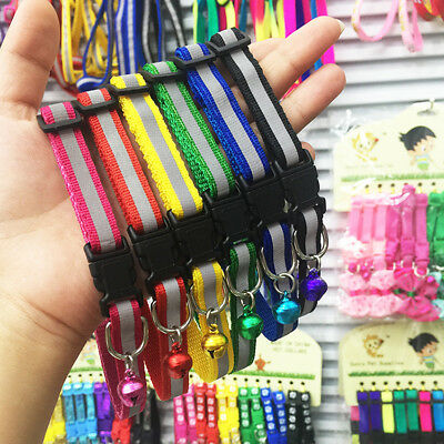 Cat Dog Puppy Pet Collar Glossy Reflective Safety Buckle Bell Strap Adjustable