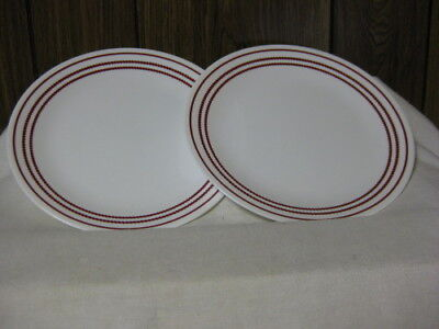 """2 Corning Corelle Ruby Red Dinner Plates 10 1/4"""" Red Dots Bands & Red Band"""