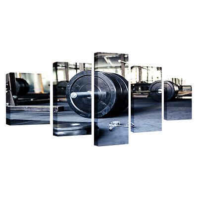 Large Canvas Print Art Wall Picture 5 Panels Sunset Ocean Framed Weightlift